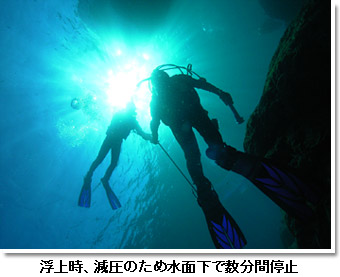 浮上時、減圧のため水面下で数分間停止